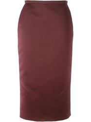 Rochas Midi Pencil Skirt Red