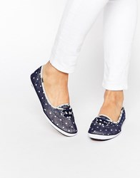 Keds Teacup Blue Chambray Dot Plimsoll Trainers Blue