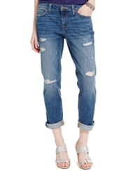 Tommy Hilfiger Distressed Crochet Panel Boyfriend Jeans Medium Wash