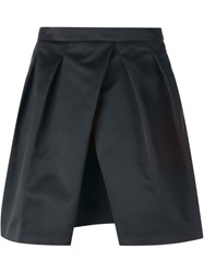 Jil Sander Navy Pleated Mini Skirt Blue