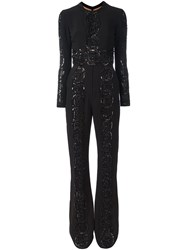 Elie Saab Embroidered Glitter Jumpsuit Black