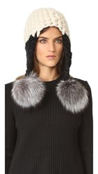 Mischa Lampert Fro Tri Two Tone Pom Hat White Black Silver Fox