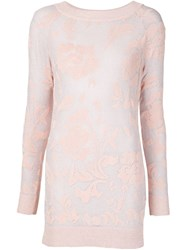Ermanno Scervino Ribbed Collar Lace Blouse Pink And Purple
