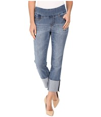Jag Jeans Lewis Pull On Straight Cuffed Comfort Denim In Weathered Blue Weathered Blue Women's Navy