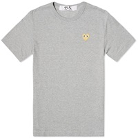 Comme Des Garcons Play Gold Heart Logo Tee Grey