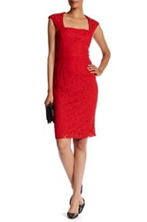Donna Ricco Square Neck Lace Dress Red