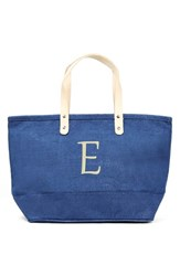 Cathy's Concepts 'Nantucket' Personalized Jute Tote Blue Blue E