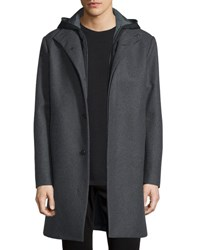 Vince Two In One Hooded Storm Coat Heather Gray Grey
