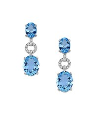 Effy Aquarius Diamond Aquamarine And 14K White Gold Earrings Blue