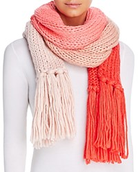 Kate Spade New York Hand Knit Color Block Muffler Scarf Persimmon