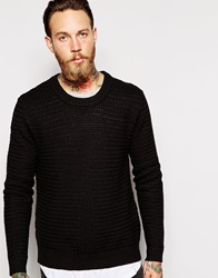 Dr. Denim Dr Denim Crew Jumper Weave Textured Knit Black
