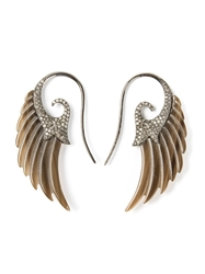 Noor Fares Wing Earrings Brown