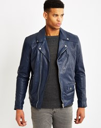 Religion Cutter Leather Biker Jacket Blue