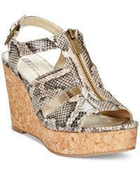 White Mountain Dharma Platform Wedge Sandals Women's Shoes Beige Snake