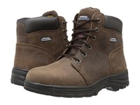 Skechers Workshire Peril Dark Brown Buffalo Crazy Horse Leather Women's Lace Up Boots