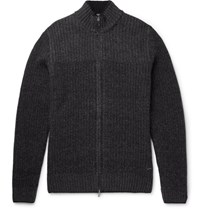 Hugo Boss Bo Wool And Cahmere Blend Zip Up Cardigan Black