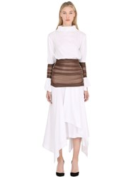 Loewe Cotton Poplin Dress With Stretch Tulle