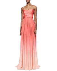 Monique Lhuillier Strapless Ombre Draped Gown Coral