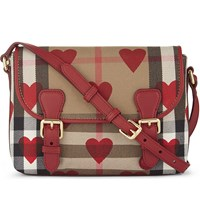 Burberry Mini Heart Check Canvas Satchel Parade Red