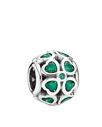 Pandora Design Pandora Charm Sterling Silver And Cubic Zirconia Green Lucky Clover Moments Collection
