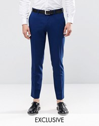 Only And Sons Skinny Suit Trousers With Stretch Blue