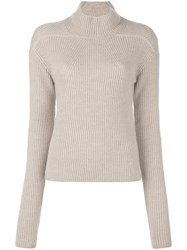 Rick Owens Ribbed Biker Jumper Nude And Neutrals