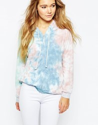 Vintage Havana Tie Dye Mood Feather Hoodie Blue