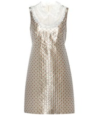 Miu Miu Metallic Jacquard Dress Silver