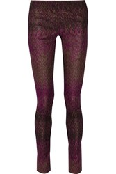 Missoni Metallic Crochet Knit Skinny Leg Pants Purple