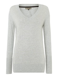 Biba Studded V Neck Jumper Grey