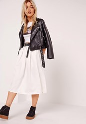 Missguided Satin Pleat Waistband Full Midi Skirt White White