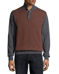 Luciano Barbera Cashmere Herringbone Sweater Charcoal Burgundy