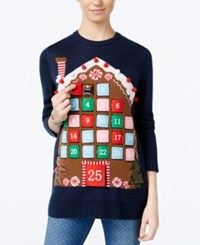 Planet Gold Juniors' Advent Calendar Holiday Sweater Navy