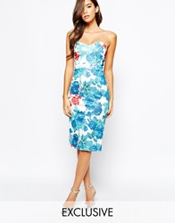 True Violet Midi Dress With Sweetheart Neck In All Over Floral Print Greenfloral