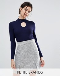 New Look Petite Ribbed High Neck Jumper Navy