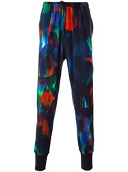 Y 3 Aurora Print Tapered Trousers Blue