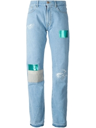 Aries Patched Boyfriend Jeans Blue