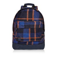 River Island Mens Orange Mi Pac Picnic Checked Backpack