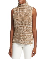 Derek Lam Sleeveless Crochet Turtleneck Top Tobacco White Tobacco White
