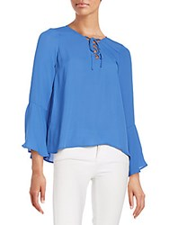 Collective Concepts Lace Up Bell Sleeve Blouse Blue