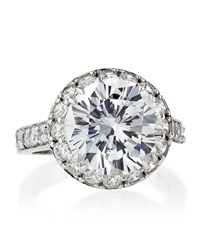 Fantasia Cz Round Solitaire Pave Ring Women's