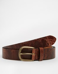 Asos Leather Belt In Dark Tan With Vintage Finish Brown