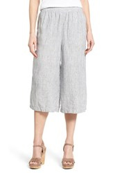 Women's Caslon Relaxed Linen Culottes Navy Ivory Mini Stripe