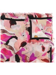 Roberto Cavalli Abstract Print Scarf Pink And Purple