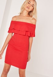Missguided Layered Frill Bandeau Bodycon Dress Red Red