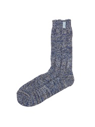 Elle Tweed Ribbed Socks Blue