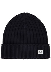 C.P. Company Midnight Blue Ribbed Wool Beanie Navy