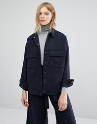 Native Youth Oversized Pin Stripe Trucker Jacket Co Ord Navy Pinstripe