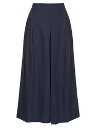 Tibi High Rise Pleated Cotton Culottes Navy