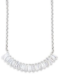 Lord And Taylor Cubic Zirconia Sterling Silver Baguette Bar Pendant Link Chain Necklace